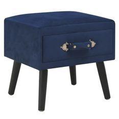Table de chevet velours bleu et pieds pin massif Twilly