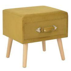 Table de chevet velours jaune et pieds pin massif Twilly