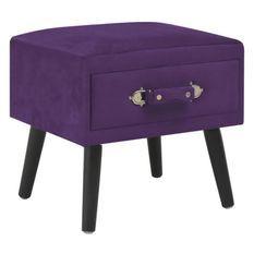 Table de chevet velours violet et pieds pin massif Twilly