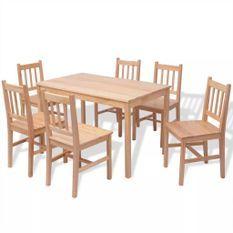 Table de cuisine rectangulaire et 6 chaises bois pinède naturel Kezako