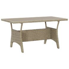 Table de jardin Gris 130x70x66 cm Résine tressée