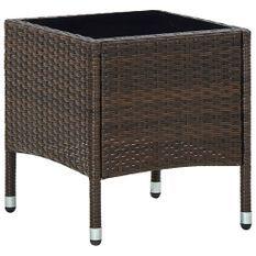 Table de jardin Marron 40x40x45 cm Résine tressée