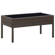 Table de jardin Marron 75x40x37 cm Résine tressée