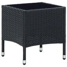 Table de jardin Noir 40x40x45 cm Résine tressée