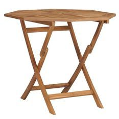 Table de jardin octogonale pliable teck massif clair Kounjo