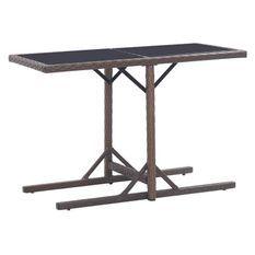 Table de jardin verre noir et résine tressée marron Vitan