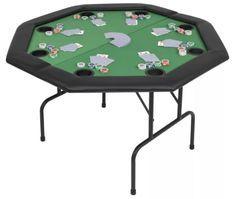 Table de poker octogonale pliable 8 joueurs vert Winner