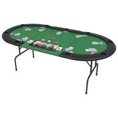 Table de poker pliable pour 9 joueurs 3 plis Ovale Vert