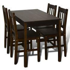 Table de salle à manger et 4 chaises pin massif marron Dina