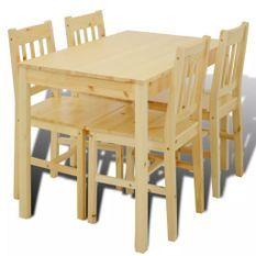 Table de salle à manger et 4 chaises pin massif naturel Vinate