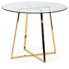 Table design ronde verre trempé et pieds métal doré Fred 97 cm