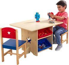 Table et 2 chaises naturel et multicouleurs Kidkraft 26912