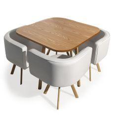 Table et 4 chaises encastrables Blanc Paolo