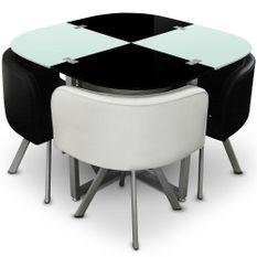 Table et 4 chaises noir et blanc pieds métal chromé Mozza
