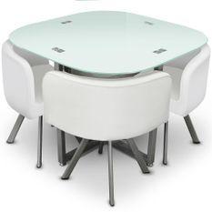 Table et 4 chaises verre blanc et pieds métal chromé Mozza