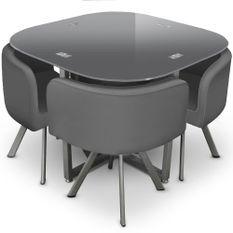 Table et 4 chaises verre gris et pieds métal chromé Mozza