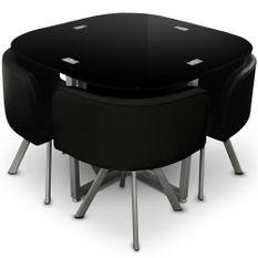Table et 4 chaises verre noir et pieds métal chromé Mozza
