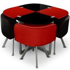 Table et 4 chaises verre rouge et noir pieds métal chromé Mozza