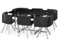 Table et 6 chaises verre noir et pieds métal chromé Mozza