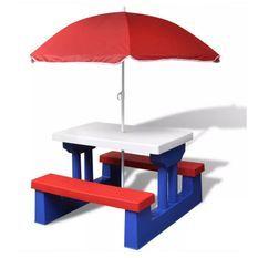 Table et bancs de jardin enfant polypropylène multicolore Nick
