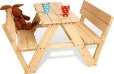 Table et bancs enfant épicéa massif clair Nicki & Lehne