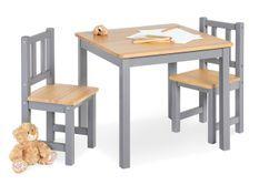 Table et chaises enfant pin massif clair et laqué gris Fenna