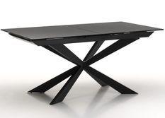 Table extensible 6 à 10 personnes L 160 à 200 cm verre laqué noir et pieds métal noir Okebi
