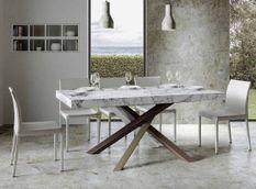 Table extensible 6 à 12 personnes effet marbre et pieds entrelacés 4 couleurs L 160 à 264 cm Artemis