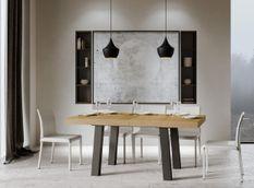 Table extensible 6 à 12 places L 160 à 264 cm bois clair et pieds métal anthracite Bidy