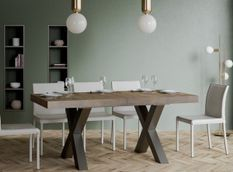 Table extensible 6 à 12 places L 160 à 264 cm bois foncé et pieds métal gris foncé Tsara