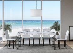 Table extensible 6 à 12 places L 160 à 264 cm effet marbre blanc et pieds métal gris foncé Gisa