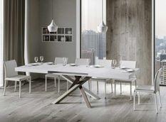 Table extensible 8 à 14 personnes blanc brillant et pieds entrelacés 4 couleurs L 180 à 284 cm Artemis