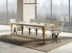 Table extensible 8 à 14 personnes blanc brillant et pieds métal doré L 180 à 284 cm Torza