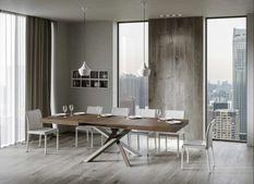 Table extensible 8 à 14 personnes bois foncé et pieds entrelacés 4 couleurs L 180 à 284 cm Artemis