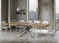 Table extensible 8 à 14 personnes chêne naturel et pieds entrelacés 4 couleurs L 180 à 284 cm Artemis