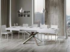 Table extensible 8 à 14 personnes frêne blanc et pieds entrelacés 4 couleurs L 180 à 284 cm Artemis