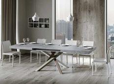 Table extensible 8 à 14 personnes gris cendré et pieds entrelacés 4 couleurs L 180 à 284 cm Artemis