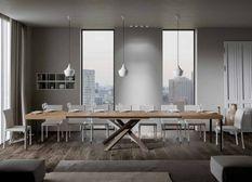 Table extensible 8 à 20 personnes chêne naturel et pieds entrelacés 4 couleurs L 180 à 440 cm Artemis