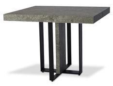 Table extensible bois effet béton et pieds métal noir Tessa 90/240 cm