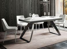 Table extensible design 8 à 14 personnes frêne blanc et pieds métal incurvés anthracite L 180 à 284 cm Volta