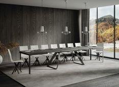 Table extensible design 8 à 20 personnes gris et pieds métal incurvés anthracite L 180 à 440 cm Volta