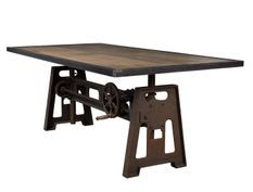Table industrielle acier marron vieilli hauteur réglable Zingo 224 cm