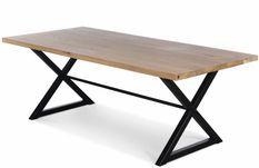 Table chêne massif clair et acier noir Karelo 180 cm