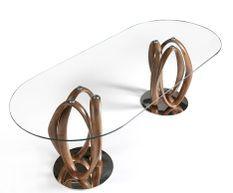 Table ovale plateau verre trempé et pieds bois massif incurvé Pinta 240 cm
