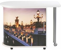 Table pivotante blanc imprimé pont de Paris Cool