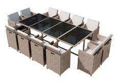 Table rectangulaire et 12 chaises de jardin résine tressée beige Iris