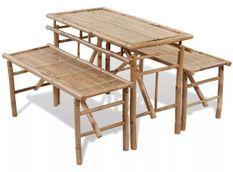 Table rectangulaire et 2 bancs de jardin bambou clair Kyca