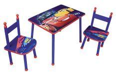 Table rectangulaire et 2 chaises Cars Disney