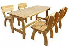 Table rectangulaire et 4 chaises de jardin pin massif clair Stylie