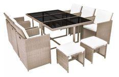 Table rectangulaire et 6 chaises de jardin résine tressée beige Iris
